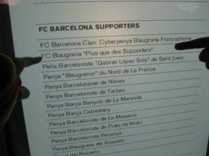 La penya affichée au Camp Nou