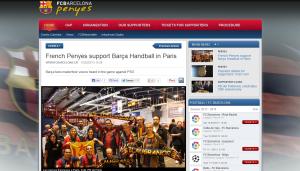La penya FC Blaugrana sur le site officiel du Barça