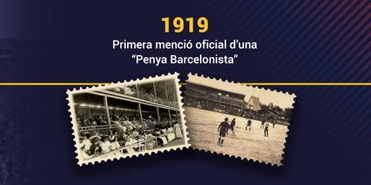 1919 première fois nom «Penya Barcelonista» dans un document du FC Barcelone.