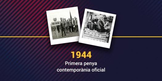 1944 premier club de supporters du Barça : Peña Solera.  En 1972 première Trobada de Penyes a Montserrat